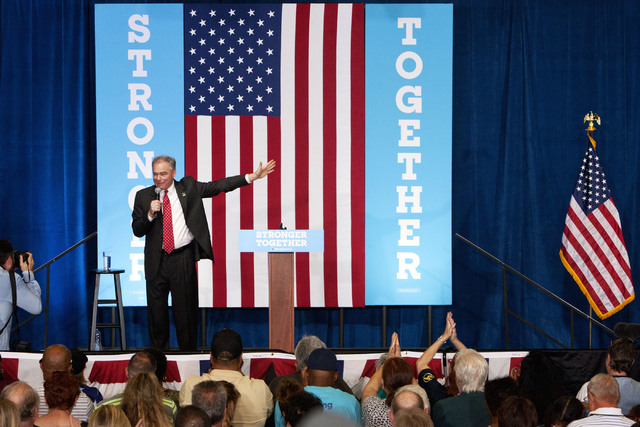 Democratic vice presidential candidate Sen. Tim Kaine, D-Va., speaks during a rally at the Local 525 Plumbers & Pipefitters Training Center at 750 Legion Way in Las Vegas on Monday Aug 22, 201 ...