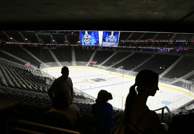 People attend an open house for prospective 2017 Vegas NHL hockey season ticket holders at T-Mobile Arena Monday, Aug. 1, 2016, in Las Vegas. (Ronda Churchill/Las Vegas Review-Journal)