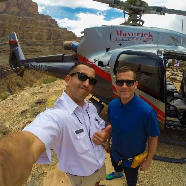Joe Munoz of Maverick Helicopters with DJ Kaskade.