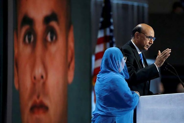 Khizr Khan, who's son Humayun, left, was killed serving in the U.S. Army, speaks at the Democratic National Convention in Philadelphia, July 28, 2016. (Lucy Nicholson/Reuters)