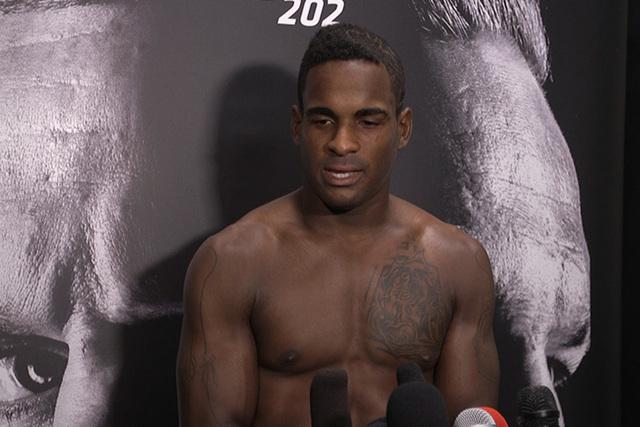 Lorenz Larkin took home a TKO win at UFC 202 over Neil Magny. (Heidi Fang/Las Vegas Review-Journal) @heidifang