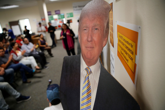 A cutout shaped Republican presidential candidate Donald Trump is seen at an office of For Nevada's Future in North Las Vegas, Wednesday, Aug. 31, 2016, as people from Nevada progressive organizat ...