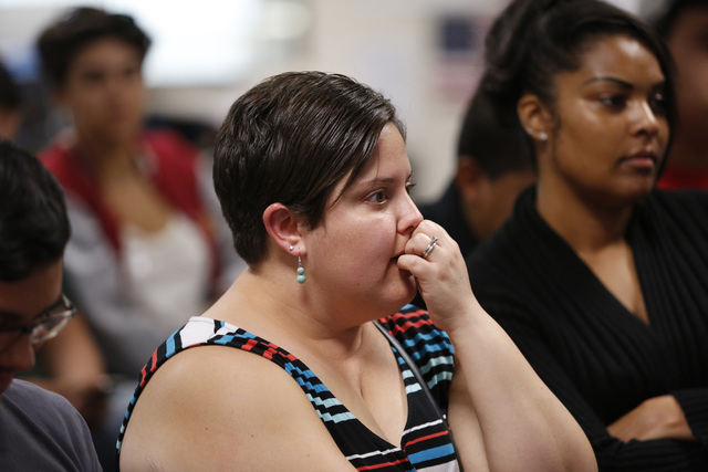 Annette Magnus of Las Vegas reacts at an office of For Nevada's Future in North Las Vegas, Wednesday, Aug. 31, 2016, as she watches Republican presidential candidate Donald Trump speaking in Phoen ...