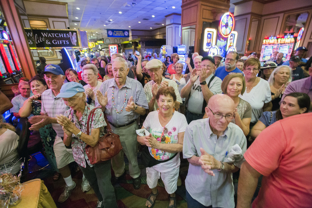 Riverside Resort costumers applaud while owner Don Laughlin speaks during the 50th anniversary party for the resort in Laughlin on Tuesday, Aug. 2, 2016. (Jeff Scheid/Las Vegas Review-Journal) Fol ...
