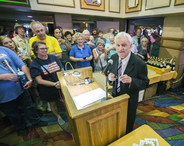 Don Laughlin, owner of the Riverside Resort, speaks to costumers during the 50th anniversary party in Laughlin on Tuesday, Aug. 2, 2016. (Jeff Scheid/Las Vegas Review-Journal) Follow @jeffscheid