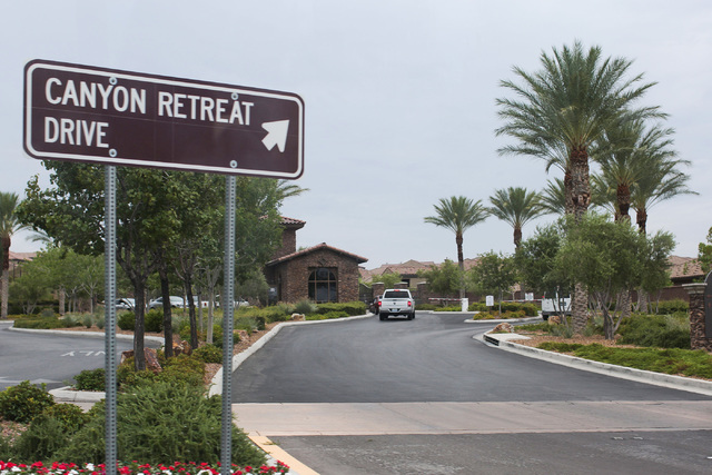 The entrance to a neighborhood where a lightning strike caused a fire on the 2700 block of Moliere Court in Henderson, Thursday, Aug. 4, 2016. (Brett Le Blanc/Las Vegas Review-Journal Follow @bleb ...