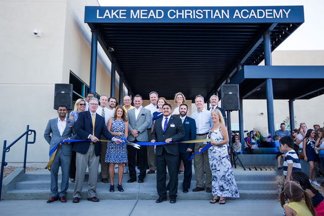 Officials cut the ribbon at Lake Mead Christian Academy, 655 E. Lake Mead Parkway. The expanded campus was slated to open the doors to its second campus Aug. 17. Special to View
