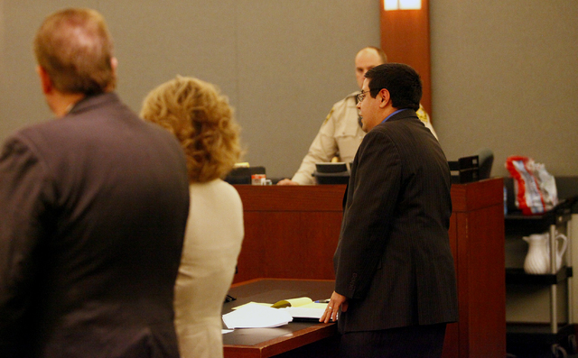 "Robert Arroyo, right, defense attorney for Michael Solid, argues against filming by MY Entertainment's ""Las Vegas Law"" television show in the courtroom of District Judge Valerie Adair on Thu ..."