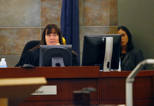 "District Judge Valerie Adair listens to arguments regarding filming by MY Entertainment's ""Las Vegas Law"" television show during the trial of Michael Solid on Thursday, August ..."
