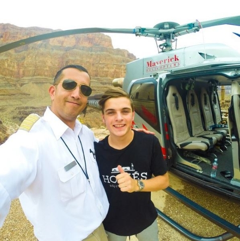 Joe Munoz of Maverick Helicopters with DJ  Martin Garrix.