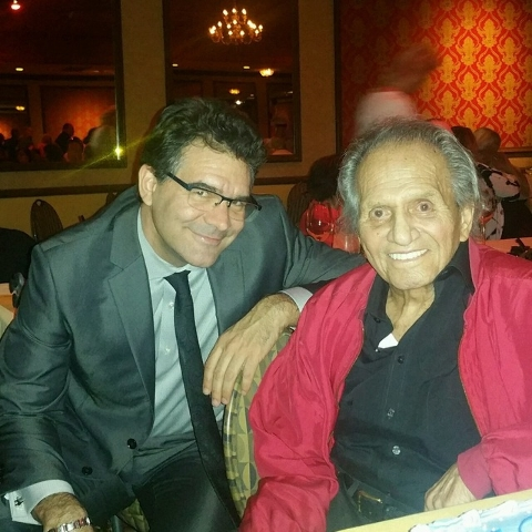 Buddy Greco is shown with R-J columnist John Katsilometes during Greco's 90th birthday party at the Italian American Social Club on Aug. 13.  (Las Vegas Review-Journal/John Katsilometes)