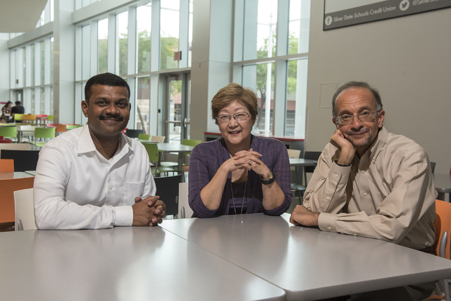 UNLV Engineering and Nursing researchers, from left, Venkatesan Muthukumar, Jillian Inouye and Mohamed Trabia pose at the Student Union at UNLV in Las Vegas on Friday, Aug. 5, 2016. The researcher ...