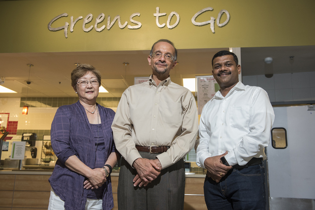 UNLV Engineering and Nursing researchers from left, Jillian Inouye, Mohamed Trabia, and Venkatesan Muthukumar pose at the Student Union at UNLV in Las Vegas on Friday, Aug. 5, 2016. The researcher ...