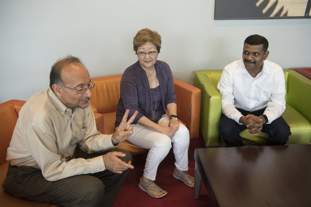 UNLV Engineering and Nursing researchers from left, Mohamed Trabia, Jillian Inouye, and Venkatesan Muthukumar talk to a reporter at the Student Union at UNLV in Las Vegas on Friday, Aug. 5, 2016.  ...
