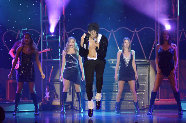 "Jalles Franca, center, performs as Michael Jackson with, from left, Brianne Verzosa, Giovanna Andolina, Amy Wuyscik and Darlene Ryan during ""MJ Live"" in the showroom at the Stratosphere at 2000 La ..."