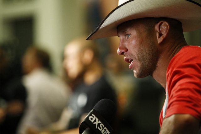 Donald Cerrone gives an interview during media day in advance of UFC 178 Thursday, Sept. 25, 2014 at the MGM Grand. (Sam Morris/Las Vegas Review-Journal)