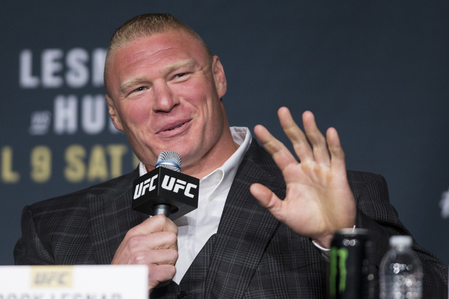 Brock Lesnar speaks during the UFC 200 press conference at MGM Grand hotel-casino on Tuesday, July 5, 2016, in Las Vegas. (Erik Verduzco/Las Vegas Review-Journal) Follow @Erik_Verduzco