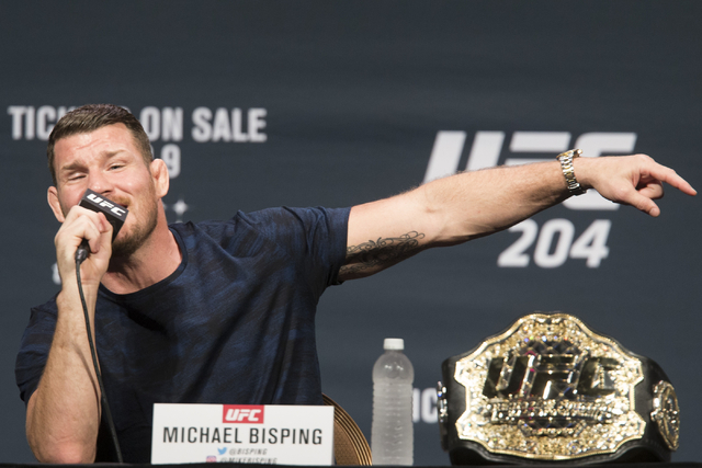 Michael Bisping speaks during the UFC 204 press conference at the MGM Grand hotel-casino on Friday, Aug. 19, 2016, in Las Vegas. Erik Verduzco/Las Vegas Review-Journal Follow @Erik_Verduzco