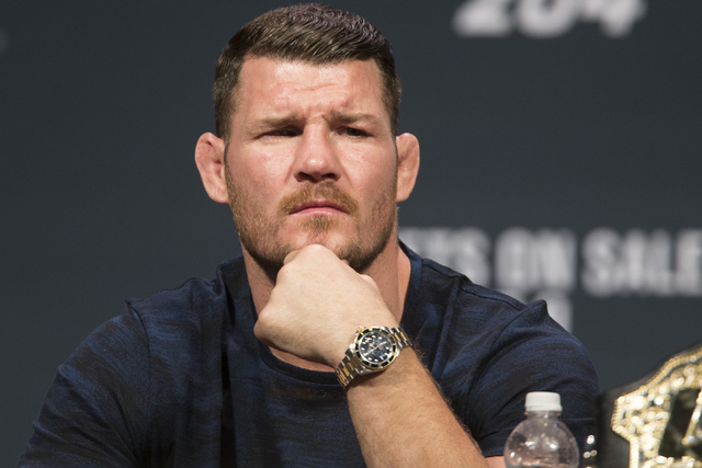 Michael Bisping looks on during the UFC 204 press conference at the MGM Grand hotel-casino on Friday, Aug. 19, 2016, in Las Vegas. Erik Verduzco/Las Vegas Review-Journal Follow @Erik_Verduzco