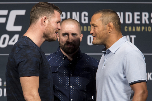 Michael Bisping, left, and Dan Henderson pose during the UFC 204 press conference at the MGM Grand hotel-casino on Friday, Aug. 19, 2016, in Las Vegas. Erik Verduzco/Las Vegas Review-Journal Follo ...