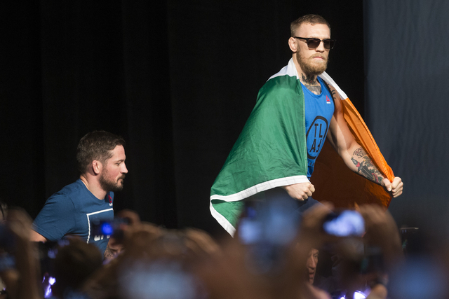 Conor McGregor takes the stage for the UFC 202 weigh-in at the MGM Grand hotel-casino on Wednesday, Aug. 17, 2016, in Las Vegas. Erik Verduzco/Las Vegas Review-Journal Follow @Erik_Verduzco