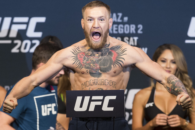 Conor McGregor poses during the UFC 202 weigh-in at the MGM Grand hotel-casino on Wednesday, Aug. 17, 2016, in Las Vegas. Erik Verduzco/Las Vegas Review-Journal Follow @Erik_Verduzco