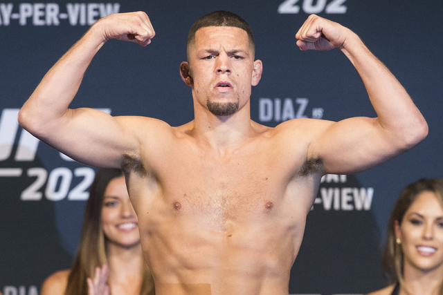 Nate Diaz poses during UFC 202 weigh-in at the MGM Grand hotel-casino on Wednesday, Aug. 17, 2016, in Las Vegas. Erik Verduzco/Las Vegas Review-Journal Follow @Erik_Verduzco