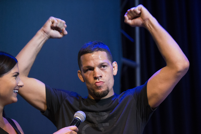 Nate Diaz arrives attends the UFC 202 open workout at Red Rock Resort on Thursday, Aug. 18, 2016, in Las Vegas. (Erik Verduzco/Las Vegas Review-Journal) Follow @Erik_Verduzco