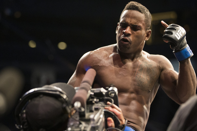 Lorenz Larkin reacts after his first round technical knockout victory against Neil Magny in the UFC 202 welterweight bout at T-Mobile Arena on Saturday, Aug. 20, 2016, in Las Vegas.  (Erik Verduzc ...