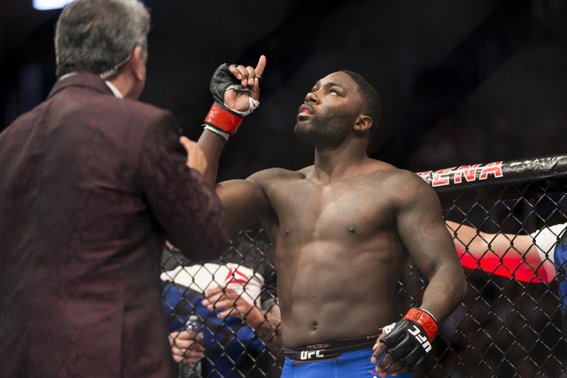 Anthony Johnson gets ready for his fight against Glover Teixeira in the light heavyweight bout during UFC 202 at T-Mobile Arena on Saturday, Aug. 20, 2016, in Las Vegas. Johnson won by a first rou ...