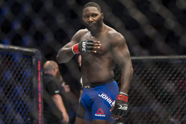 Anthony Johnson reacts after his first round knockout win against Glover Teixeira in the light heavyweight bout during UFC 202 at T-Mobile Arena on Saturday, Aug. 20, 2016, in Las Vegas. (Erik Ver ...