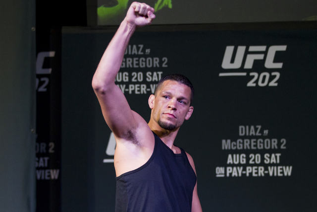 Nate Diaz attends the UFC 202 press conference at the MGM Grand hotel-casino on Wednesday, Aug. 17, 2016, in Las Vegas. (Erik Verduzco/Las Vegas Review-Journal) Follow @Erik_Verduzco