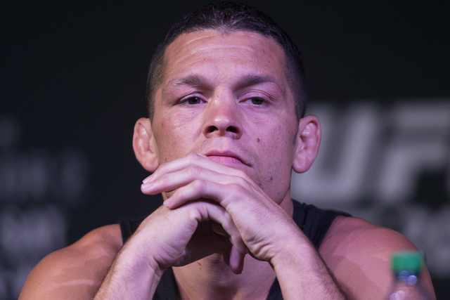 Nate Diaz attends the UFC 202 press conference at the MGM Grand hotel-casino on Wednesday, Aug. 17, 2016, in Las Vegas. Erik Verduzco/Las Vegas Review-Journal Follow @Erik_Verduzco