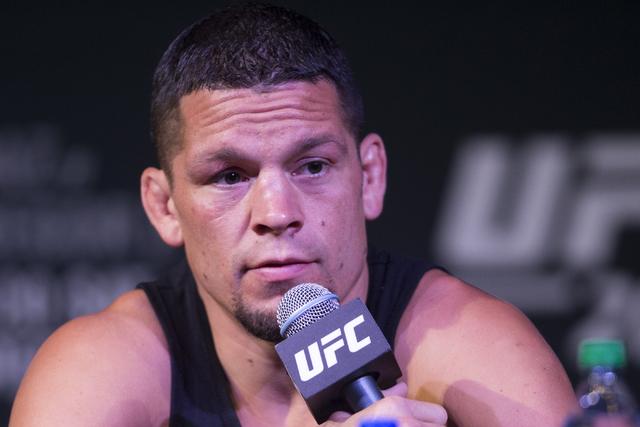 Nate Diaz speaks during the UFC 202 press conference at the MGM Grand hotel-casino on Wednesday, Aug. 17, 2016, in Las Vegas. Erik Verduzco/Las Vegas Review-Journal Follow @Erik_Verduzco