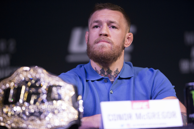 Conor McGregor attends the UFC 202 press conference at the MGM Grand hotel-casino on Wednesday, Aug. 17, 2016, in Las Vegas. Erik Verduzco/Las Vegas Review-Journal Follow @Erik_Verduzco