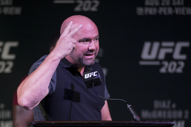 Dana White, president for UFC, ends the UFC 202 press conference early after Nate Diaz, his upcoming opponent Conor McGregor and their teams got into an altercation at the MGM Grand hotel-casino o ...