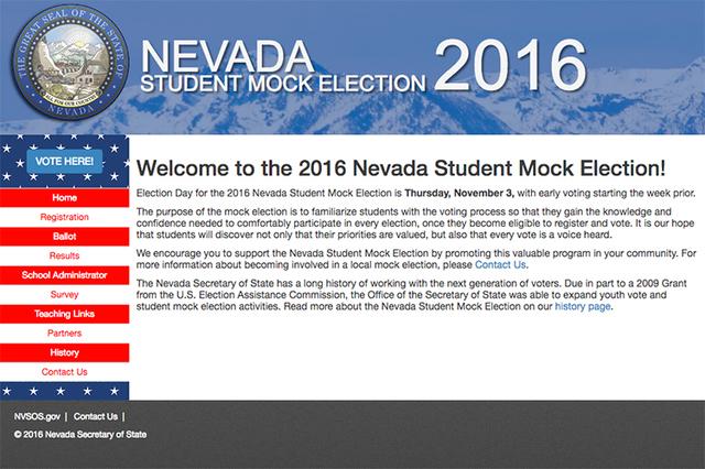 The 2016 Nevada Student Mock Election site youthvote.nv.gov.