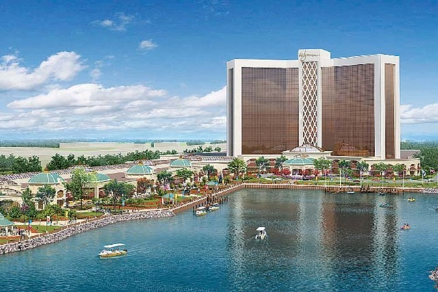 This artist''s rendering shows the resort casino that will be built by Wynn Resorts on the banks of the Mystic River in Everett, Mass. (Wynn Resorts)
