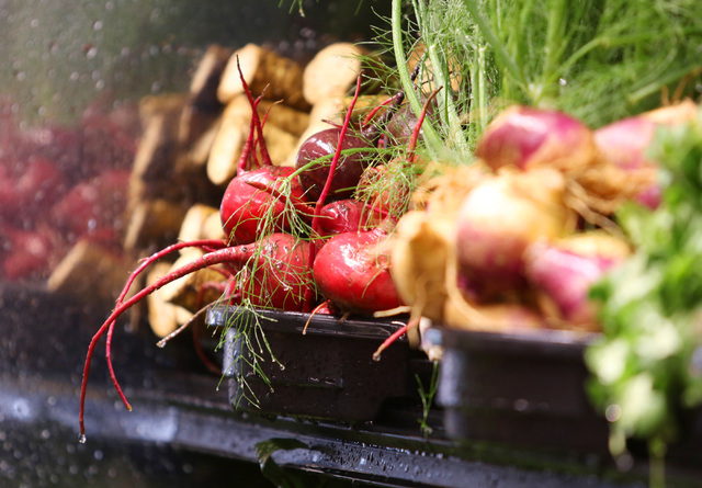 Beets are shown for sale with other root vegetables on the opening day of Natural Grocers at 6305 Simmons St. in North Las Vegas on Tuesday, Aug. 9, 2016. The Colorado-based grocery chain also ope ...