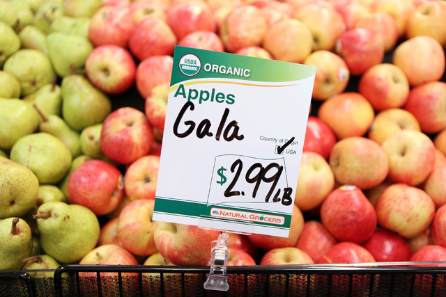 Organic Gala apples are shown for sale on the opening day of Natural Grocers at 6305 Simmons St. in North Las Vegas on Tuesday, Aug. 9, 2016. The Colorado-based grocery chain also opened a store a ...