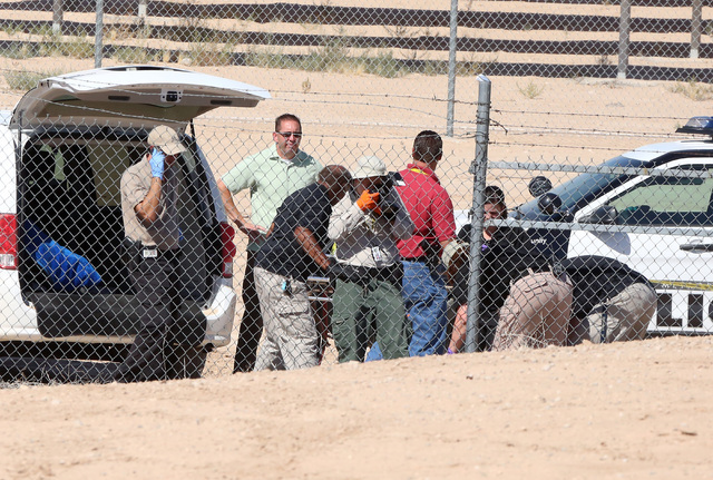 Las Vegas police and Nellis Air Force Base security forces are investigating after a man was found dead near the base Tuesday, Aug. 16, 2016, in Las Vegas. Bizuayehu Tesfaye/Las Vegas Review-Journ ...