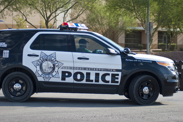 A police vehicle blocks Range Road near Nellis Air Force Base on Thursday morning, Aug. 18, 2016. An Air Force plane crashed near the base during training exercises. (Daniel Clark/Las Vegas Review ...