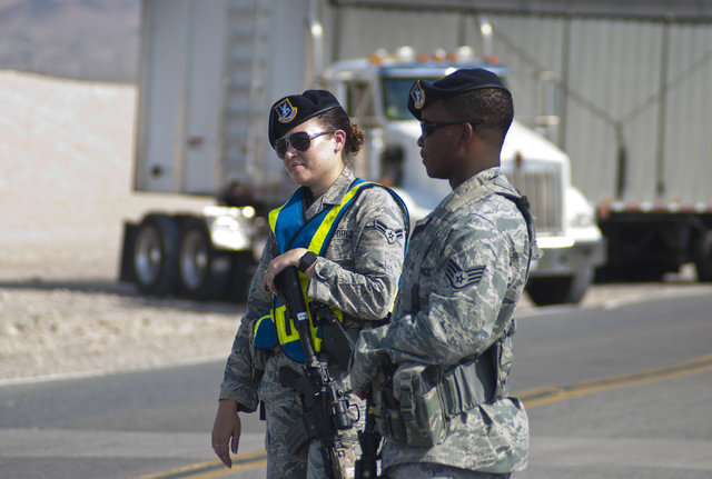 Hollywood Boulevard at Las Vegas Boulevard near Nellis Air Force Base is blocked on Thursday morning after an airplane crash occurred during training exercises Thursday, Aug. 18, 2016. (Daniel Cla ...