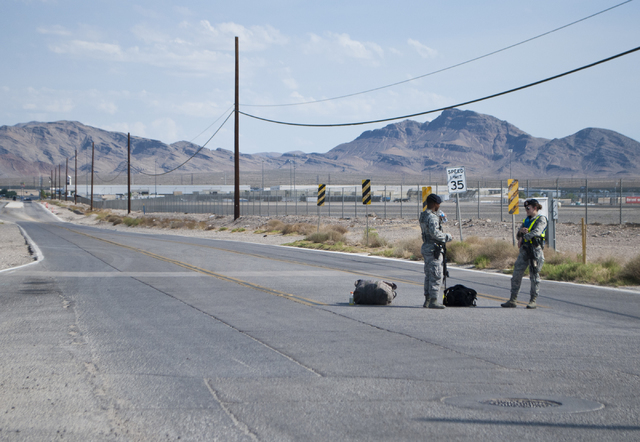 Hollywood Boulevard at Las Vegas Boulevard near Nellis Air Force Base is blocked on Thursday morning after an airplane crash occurred during training exercises Thursday, Aug. 18, 2016. Daniel Clar ...