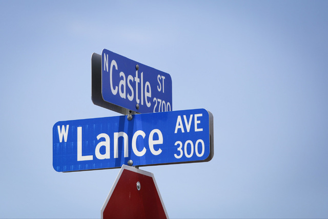 A street sign for the 2700 block of Castle Street in North Las Vegas, is seen on Saturday, Aug. 27, 2016. Early Saturday morning, police responded to a shooting on the 2700 block of Castle Street, ...