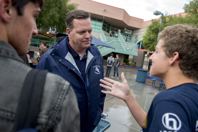Principal Travis Warnick talks with students during their lunch at Shadow Ridge High School in Las Vegas. Warnick was named a finalist of Varsity Brands 2016 School Spirit Awards Principal of Prin ...