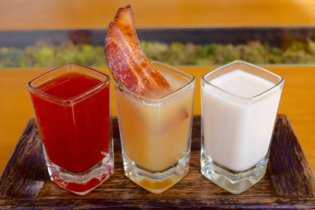 Liquid Sunshine, left, and Whiskey Scramble are among the new breakfast-themed shots served at The Perch. (courtesy The Perch)