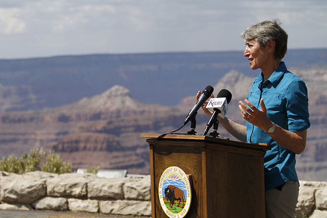 U.S. Interior Secretary Sally Jewell speaks to reporters during a news conference at Grand Canyon National Park in Arizona on July 26, 2016. (Beatriz Costa-Lima/The Associated Press)