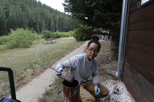 Adam Nguyen, a crew member for the nonprofit organization Rocky Mountain Conservancy, helps restore old cabins used by research scientists inside Rocky Mountain National Park, near Estes Park, Col ...