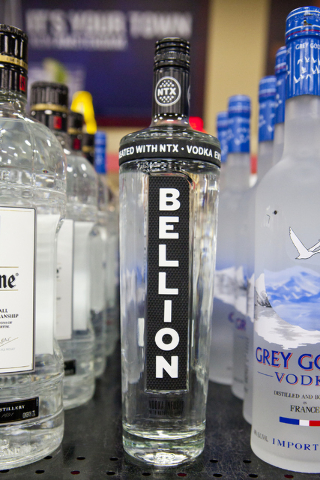 Bellion Vodka is shown at Lee's Discount Liquor on Rainbow Boulevard in Las Vegas on Tuesday, Aug. 30, 2016. Bellion Vodka is the first commercially available vodka created with NTX Technology to  ...